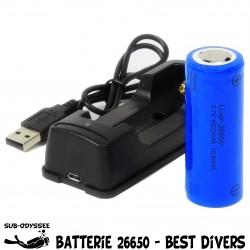 Chargeur + Batterie 26650...